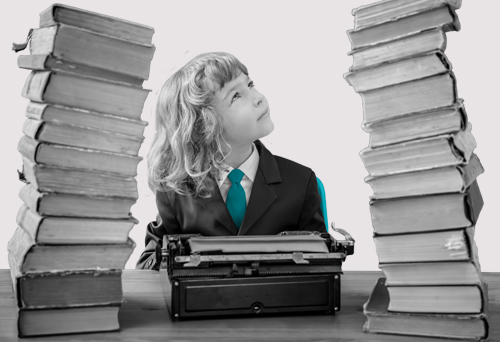 Business person surrounded by books and thinking up their next blog post.